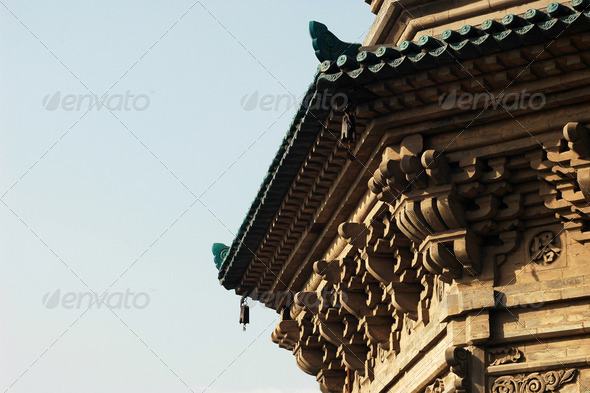 Details of a typical historic pagoda in China - Stock Photo - Images