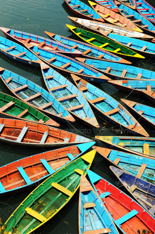 Colorful tour boats - Stock Photo - Images