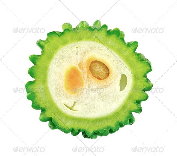 bitter melons slice on white - Stock Photo - Images