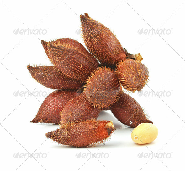 Tropical fruit : (Snake/ Salak/ Salacca/ Sala) on white background - Stock Photo - Images