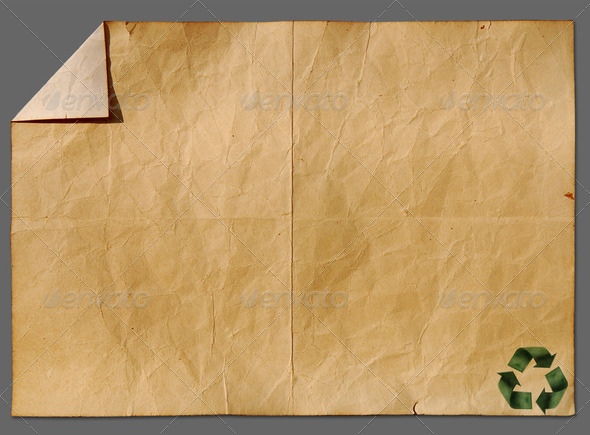 Recycled paper craft stick on old paper - Stock Photo - Images
