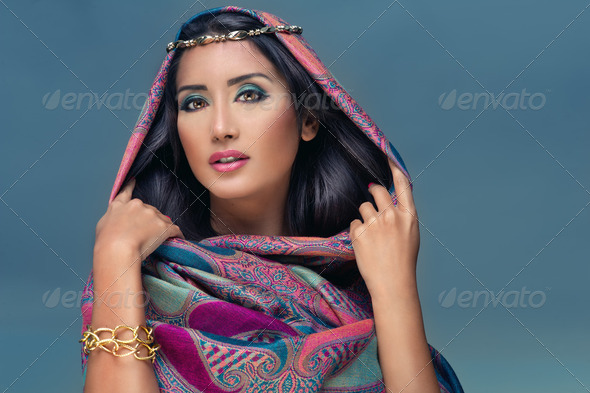 Portrait of a beauty arabian lady in a sensual beauty portrait  - Stock Photo - Images