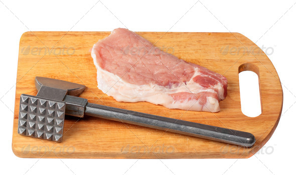 Pork stake on a wooden board - Stock Photo - Images