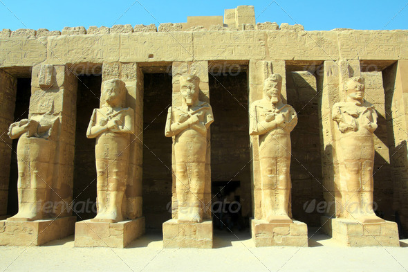 ancient statues in Luxor karnak temple - Stock Photo - Images