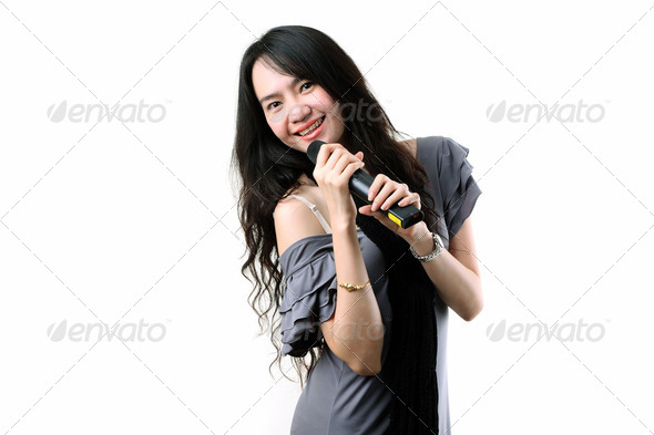 karaoke singer on a white background. - Stock Photo - Images