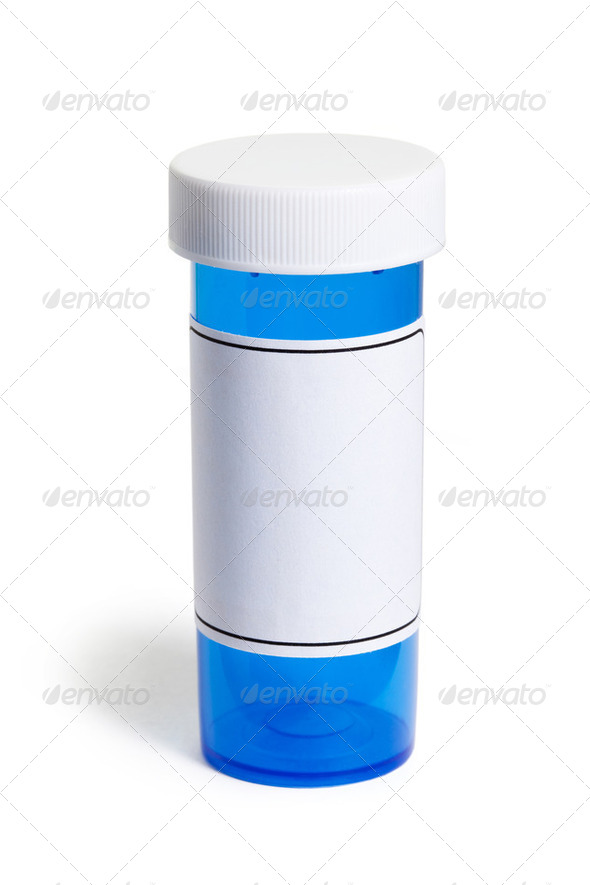 Blue Pill Bottle - Stock Photo - Images
