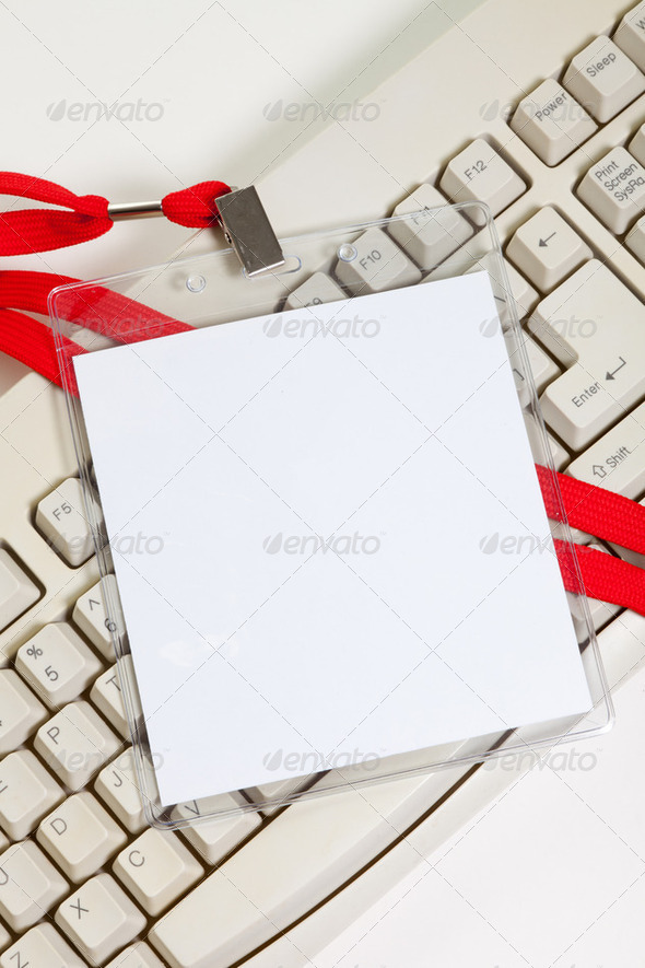 Name Tag and computer keyboard - Stock Photo - Images