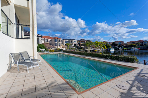 Luxurious waterfront neighbourhood - Stock Photo - Images