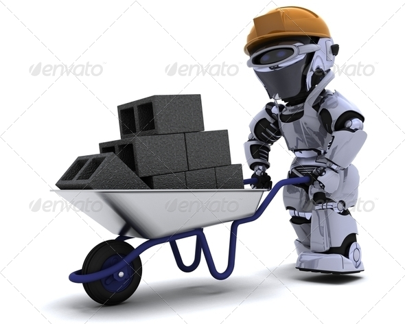 Robot Builder with a wheel barrow carrying bricks - Stock Photo - Images