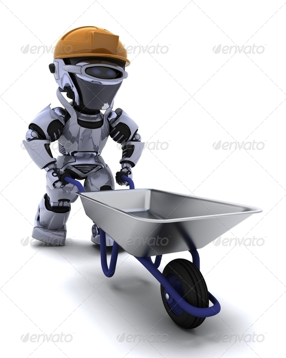 robot with a wheel barrow - Stock Photo - Images