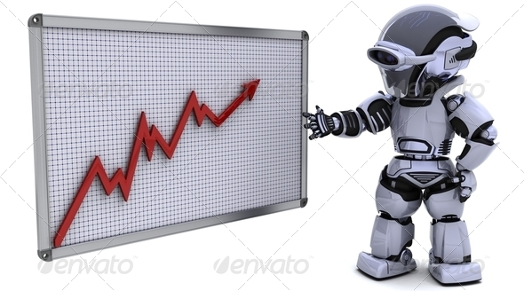 robot with a graph chart - Stock Photo - Images