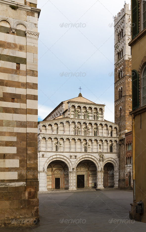 San Martino with piazza, Lucca, Tuscany, Italy - Stock Photo - Images