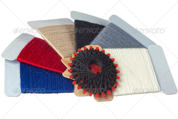 strands of darning colored - Stock Photo - Images