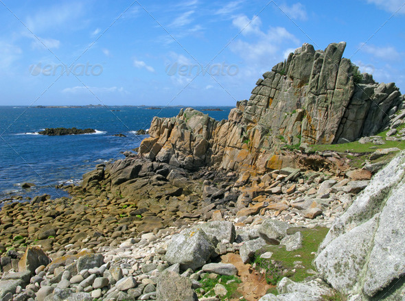 St. Agnes and Western Rocks, Isles of Scilly. - Stock Photo - Images