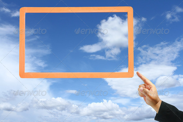 business hand touch frame - Stock Photo - Images