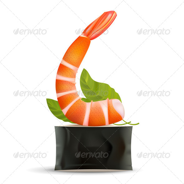 Sushi. Shrimp on roll on white - Stock Photo - Images