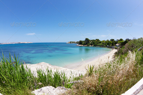 beautiful coast on the Blue Sea, siracusa, sicily, italy  - Stock Photo - Images