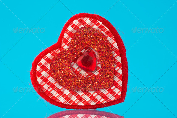 Red Heart On Blue Background - Stock Photo - Images
