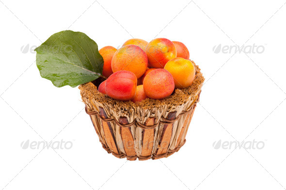 Basket With Apricots Isolated - Stock Photo - Images