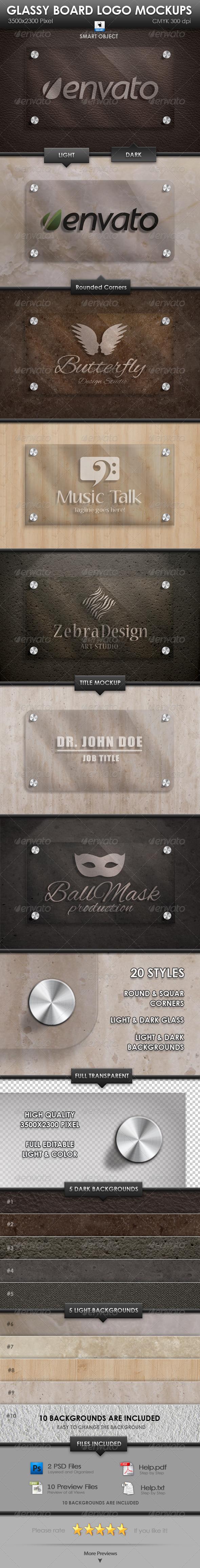 GraphicRiver Glassy Board Logo Mockups 3298366