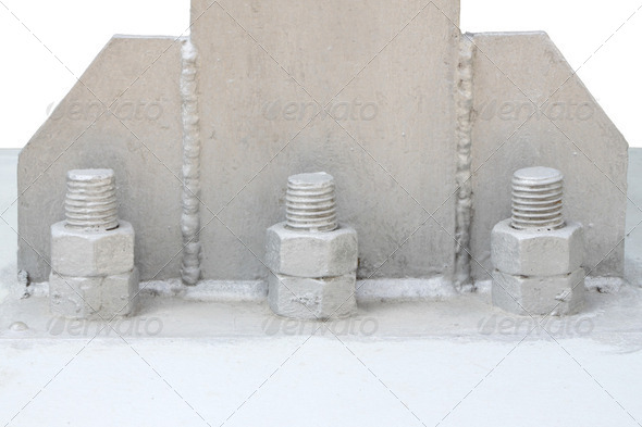 Bolt and nut of base metal pillar. - Stock Photo - Images