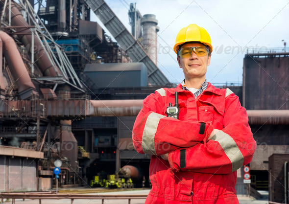 Factory worker in overalls - Stock Photo - Images