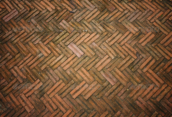 the old floor from the red brick - Stock Photo - Images