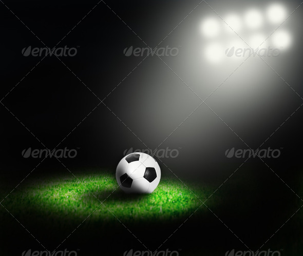 Soccer ball of stadium - Stock Photo - Images