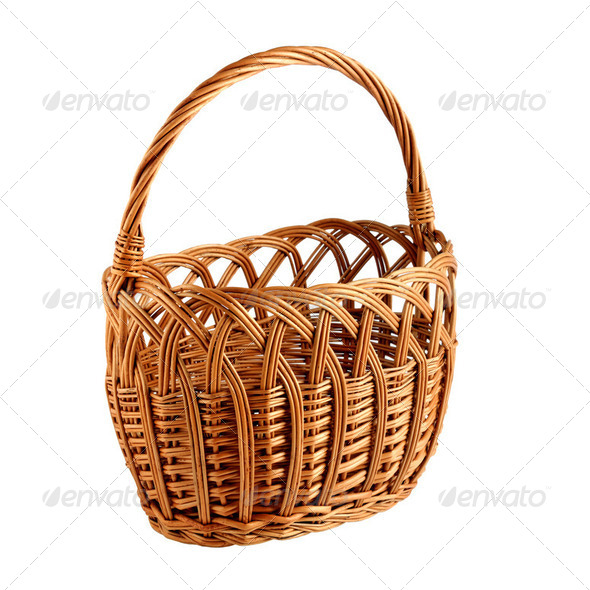 Wicker basket isolated on white background - Stock Photo - Images
