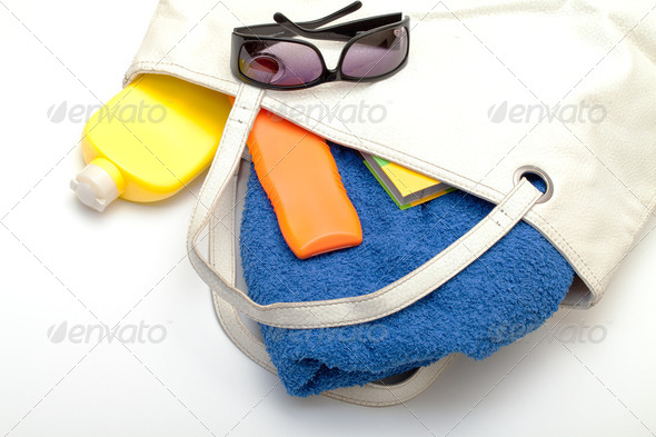 Beach Bag with Towel and Bottles Cream - Stock Photo - Images