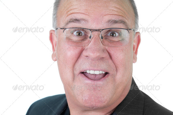 Headshot emotional male man senior - Stock Photo - Images