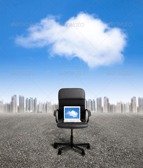 computer on the office chair and business cloud computing concept - Stock Photo - Images