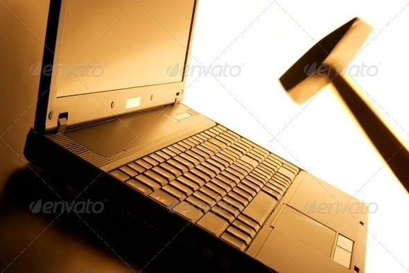 Laptop smash - Stock Photo - Images