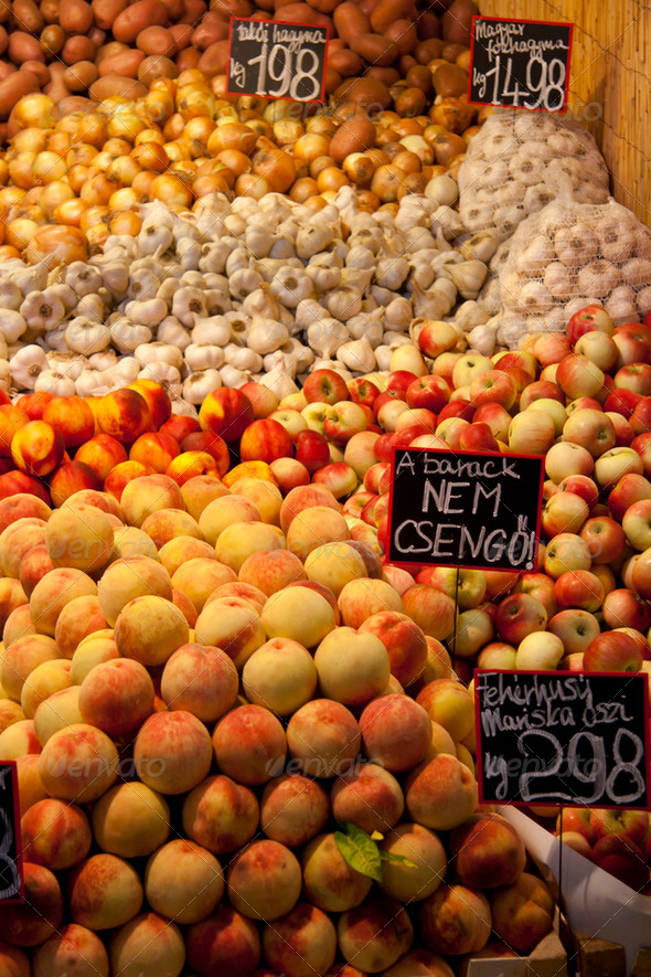 Fruit and vegetables on display in a market in Budapest - Stock Photo - Images