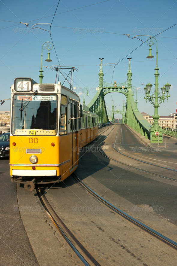 Tram coming from Freedom Bridge in Budapest - Stock Photo - Images