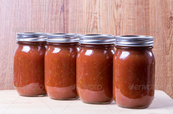 Tomato sauce in mason jars - Stock Photo - Images