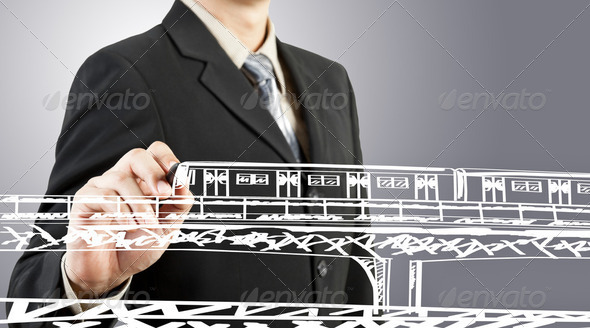 Business man draw train transportation and cityscape - Stock Photo - Images