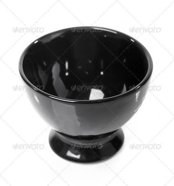 Black bowl isolated - Stock Photo - Images