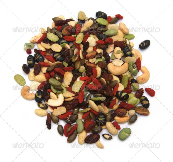 organic mixed nuts and dry fruits - Stock Photo - Images