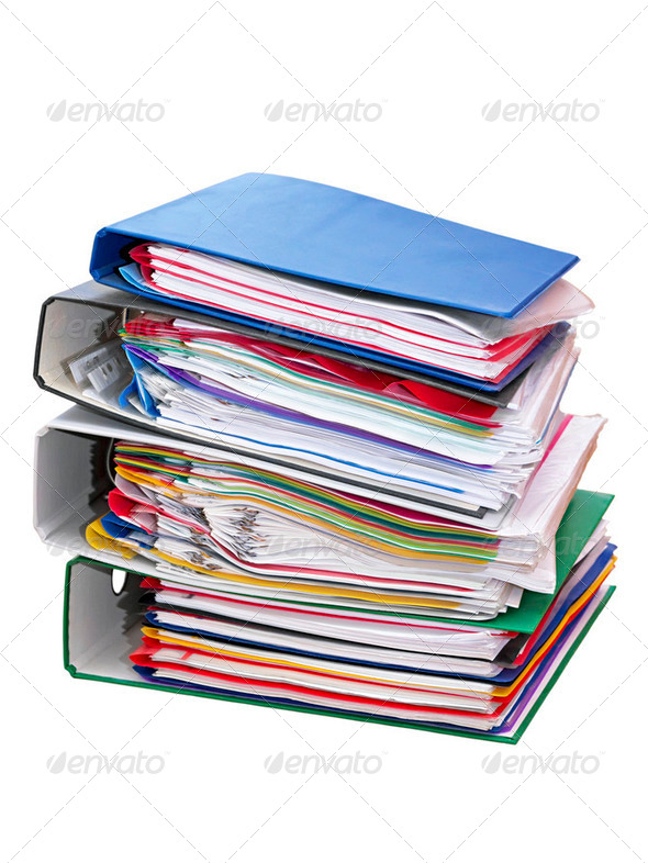 stack of folders - Stock Photo - Images
