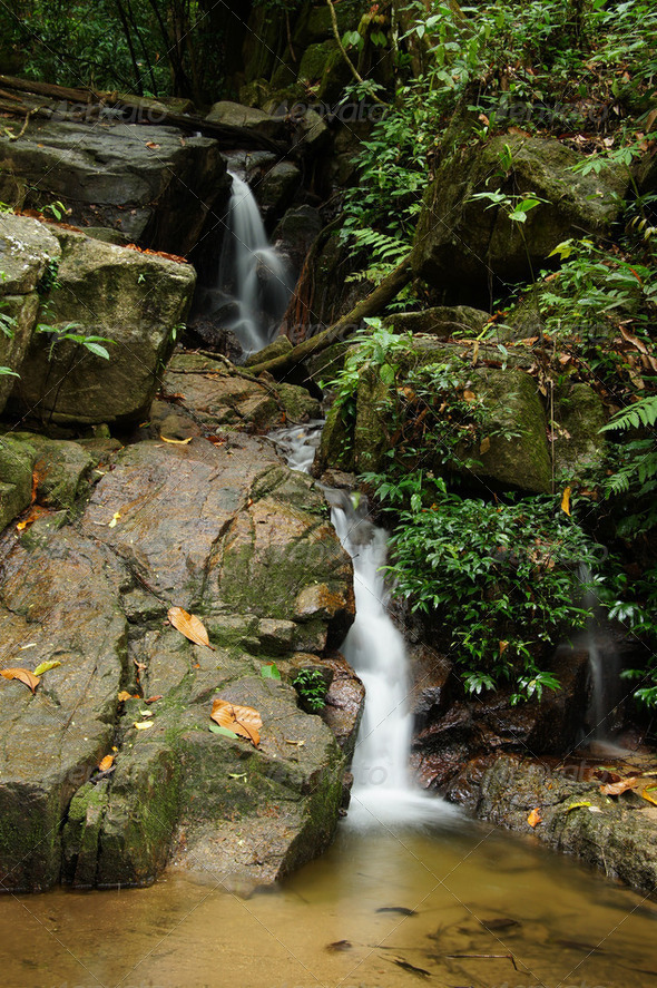 The small waterfall and rocks, thailand - Stock Photo - Images