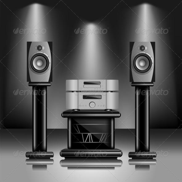 Hi-Fi audio sound system - Stock Photo - Images
