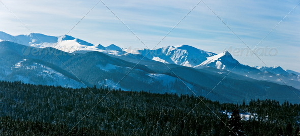 Panoramic Polish Tatras in winter scenery - Stock Photo - Images