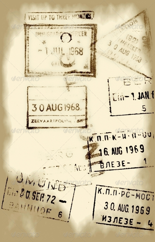 Old Entry and Exit Travel Stamps - Stock Photo - Images