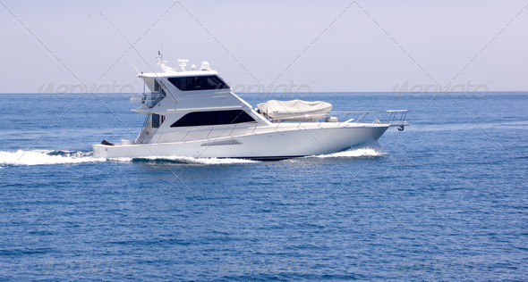 Sportfisher Yacht at Sea - Stock Photo - Images