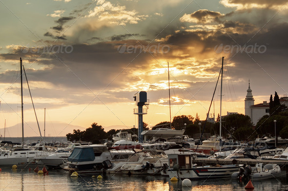 Cruise boats in Adriatic sea with sunset light - Stock Photo - Images