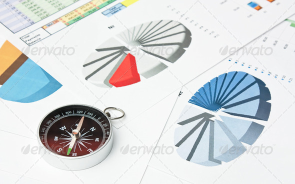 compass and paper work - Stock Photo - Images
