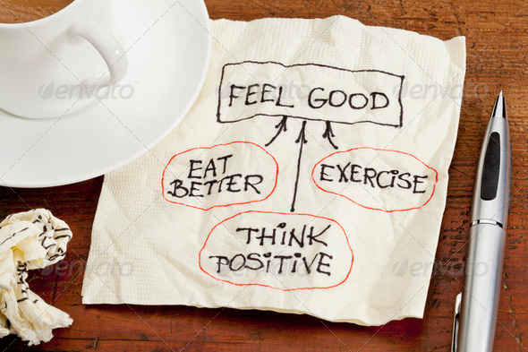 feel good concept - napkin doodle - Stock Photo - Images
