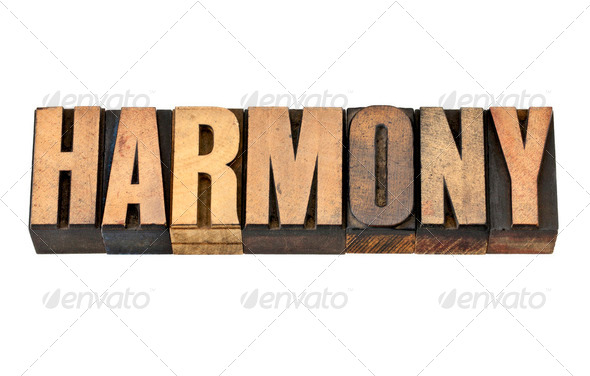 harmony word in wood type - Stock Photo - Images