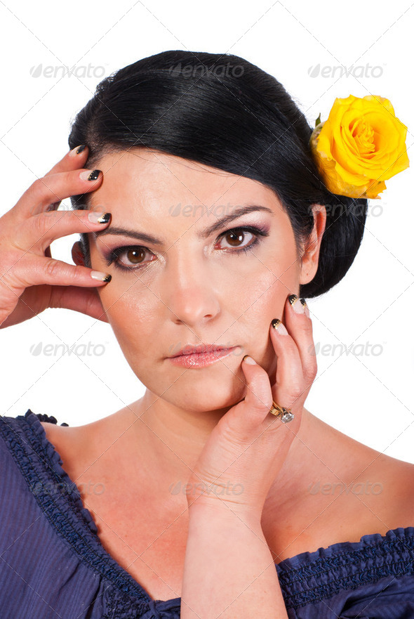 Woman holding her face with natural makeup - Stock Photo - Images